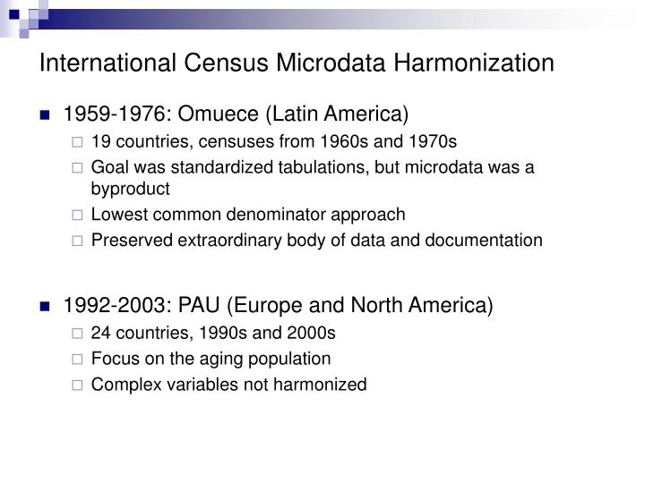 International Census Microdata Harmonization
