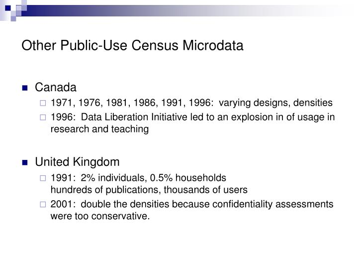 Other Public-Use Census Microdata