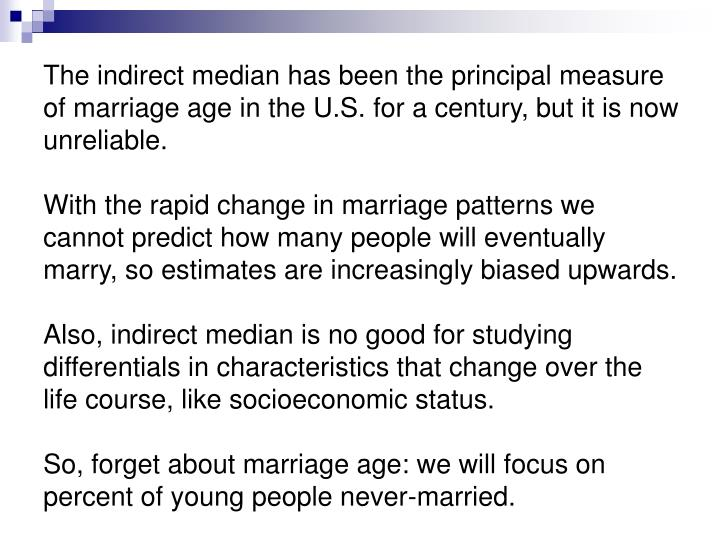 The indirect median has been the principal measure of marriage age in the U.S. for a century, but it is now unreliable.