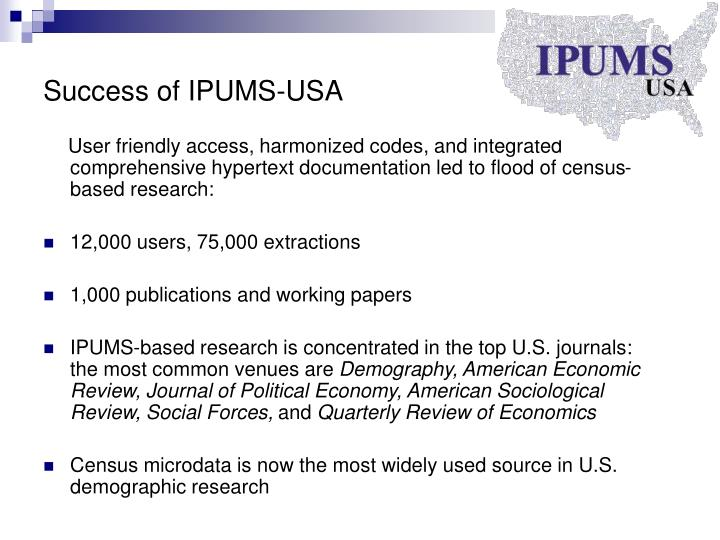 Success of IPUMS-USA