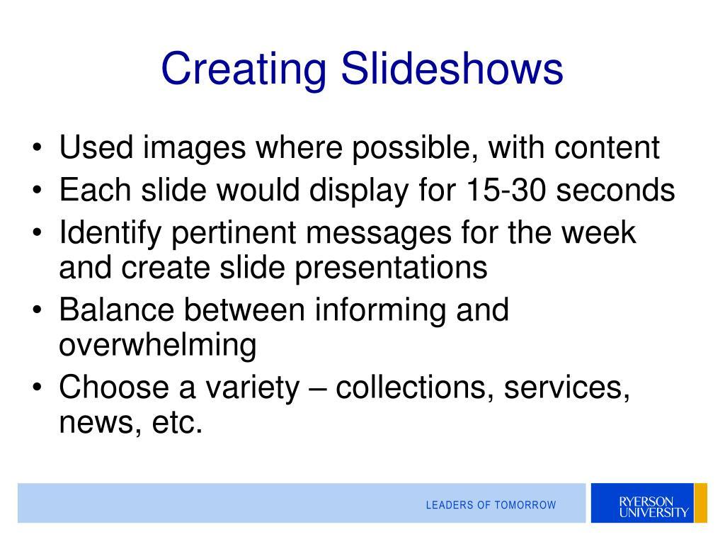 Creating Slideshows