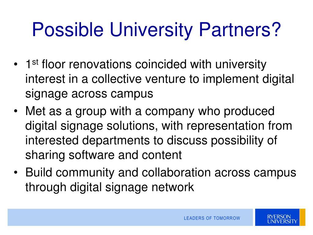 Possible University Partners?