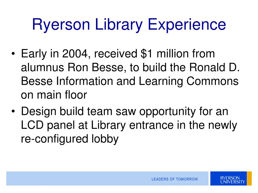 Ryerson Library Experience
