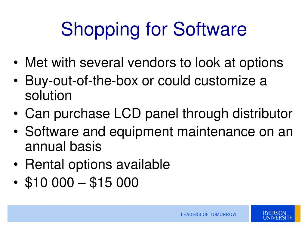 Shopping for Software