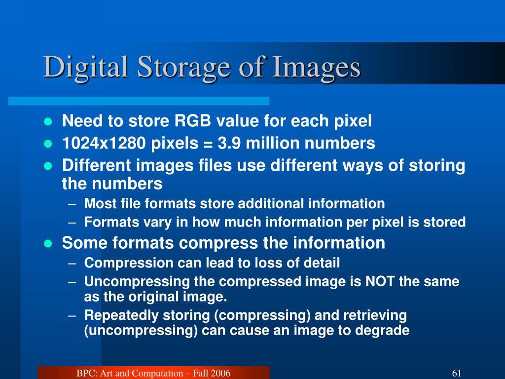 Digital Storage of Images