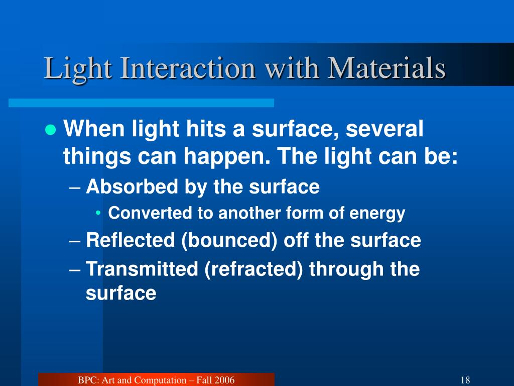 Light Interaction with Materials