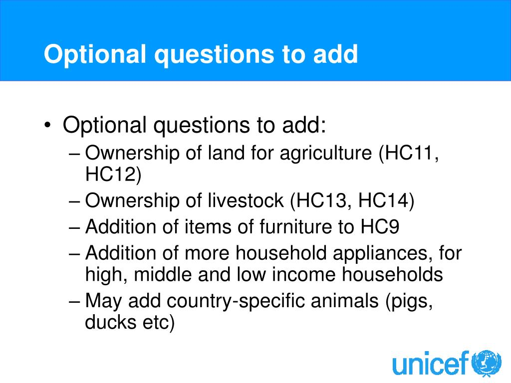 Optional questions to add