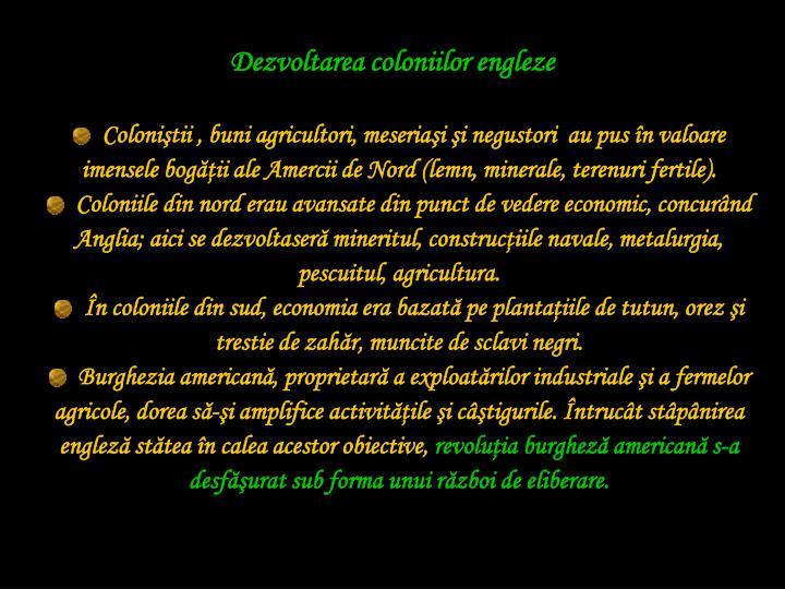 Dezvoltarea coloniilor engleze