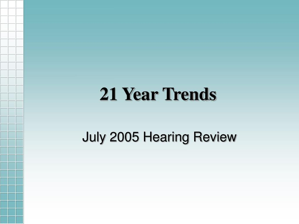 21 Year Trends