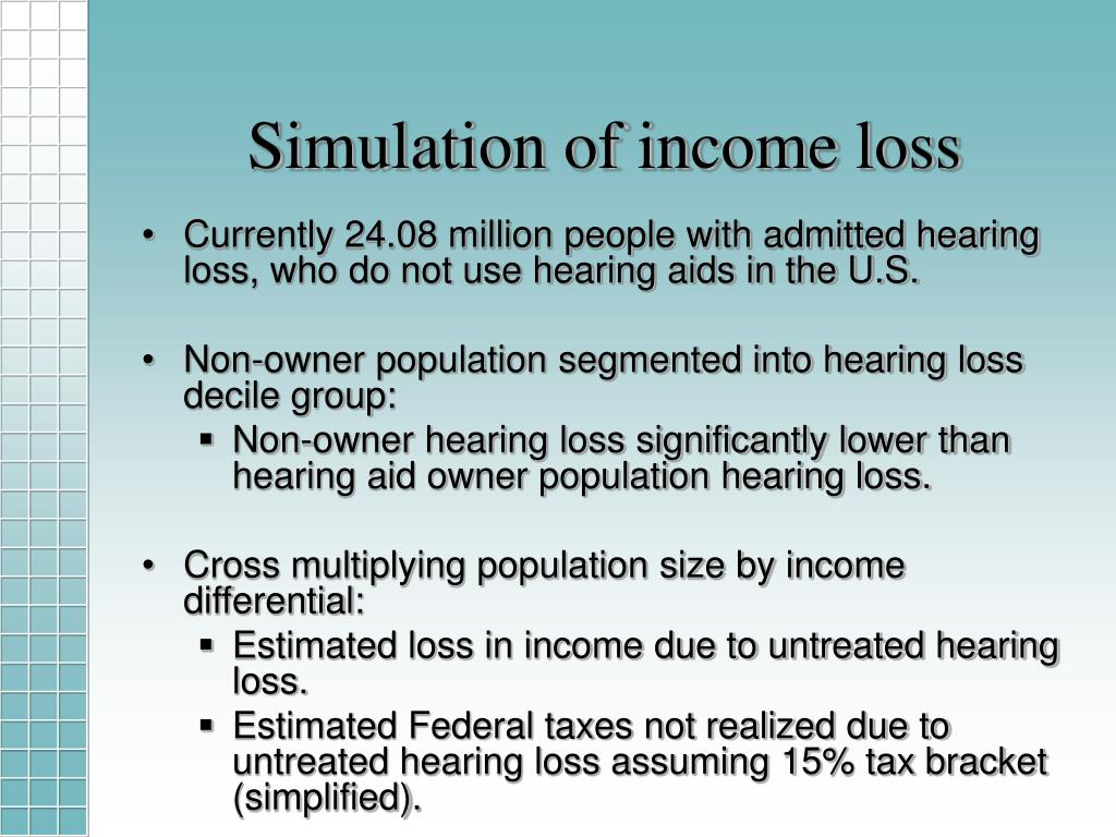 Simulation of income loss