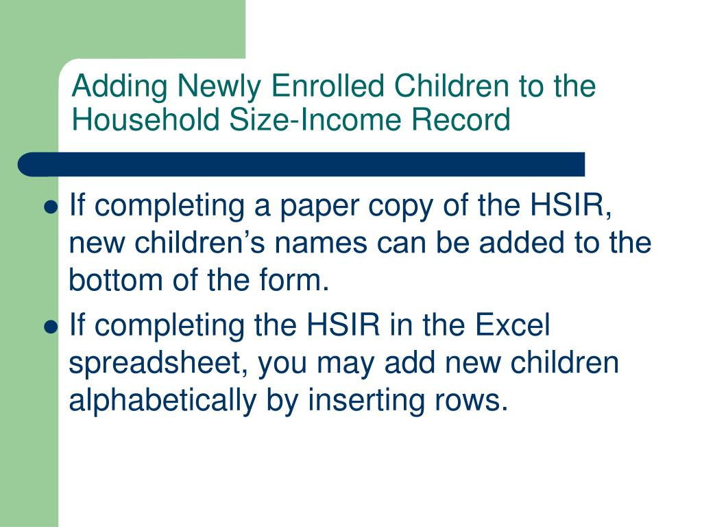 Adding Newly Enrolled Children to the Household Size-Income Record