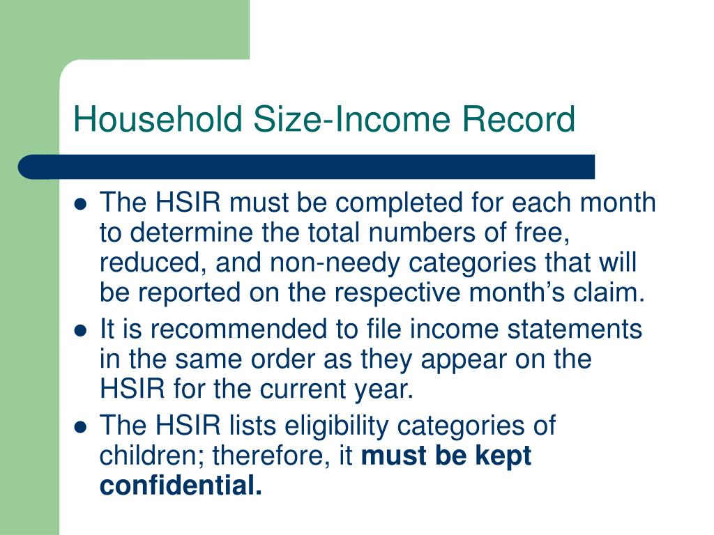 Household Size-Income Record