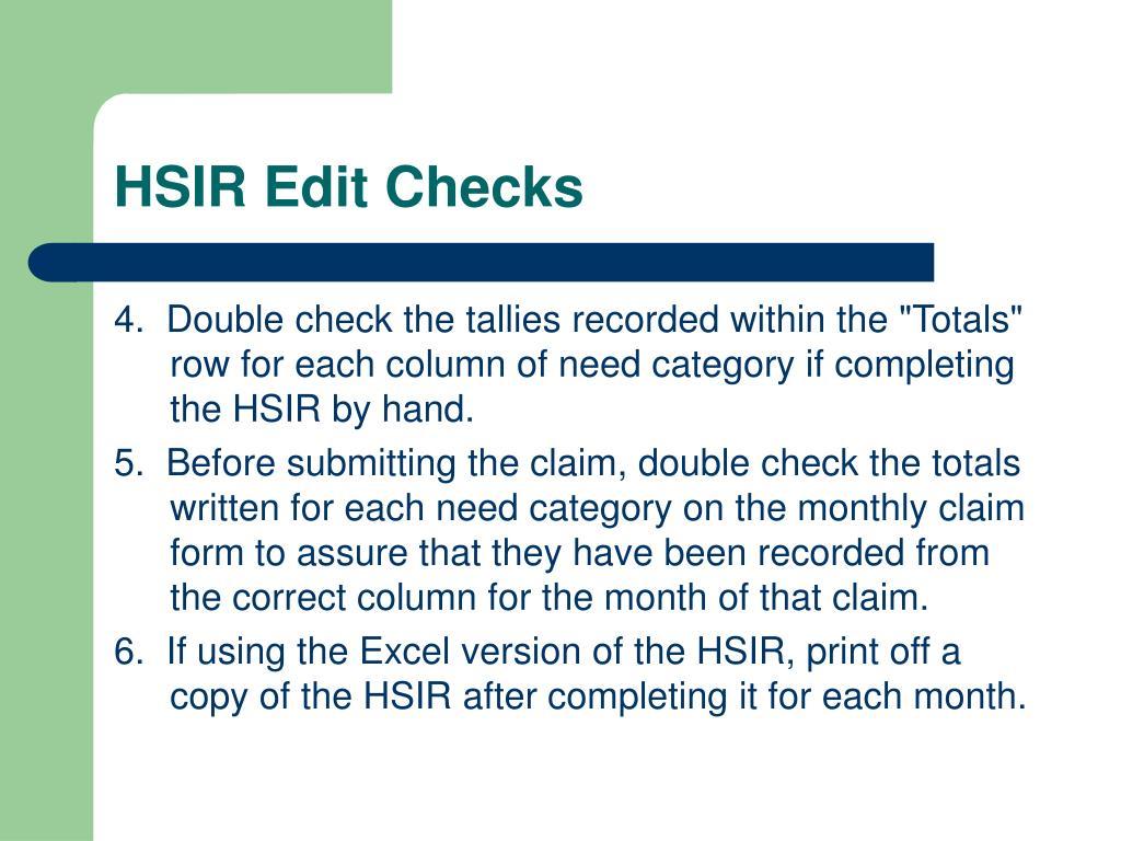 HSIR Edit Checks