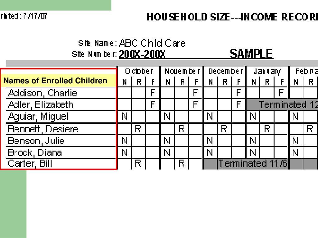Names of Enrolled Children