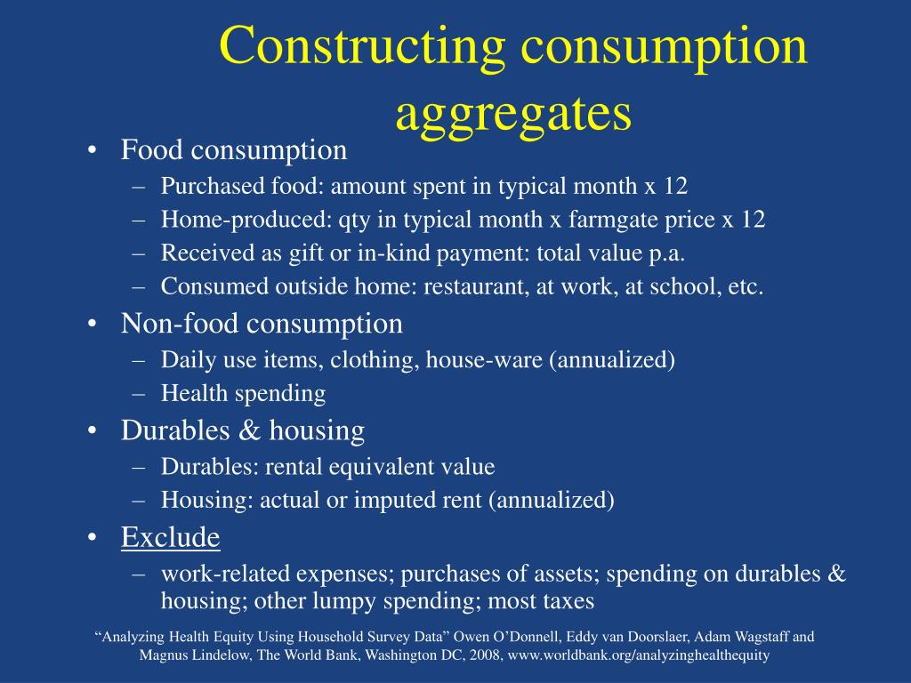 Constructing consumption aggregates