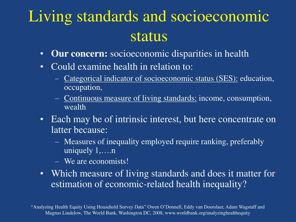 Living standards and socioeconomic status