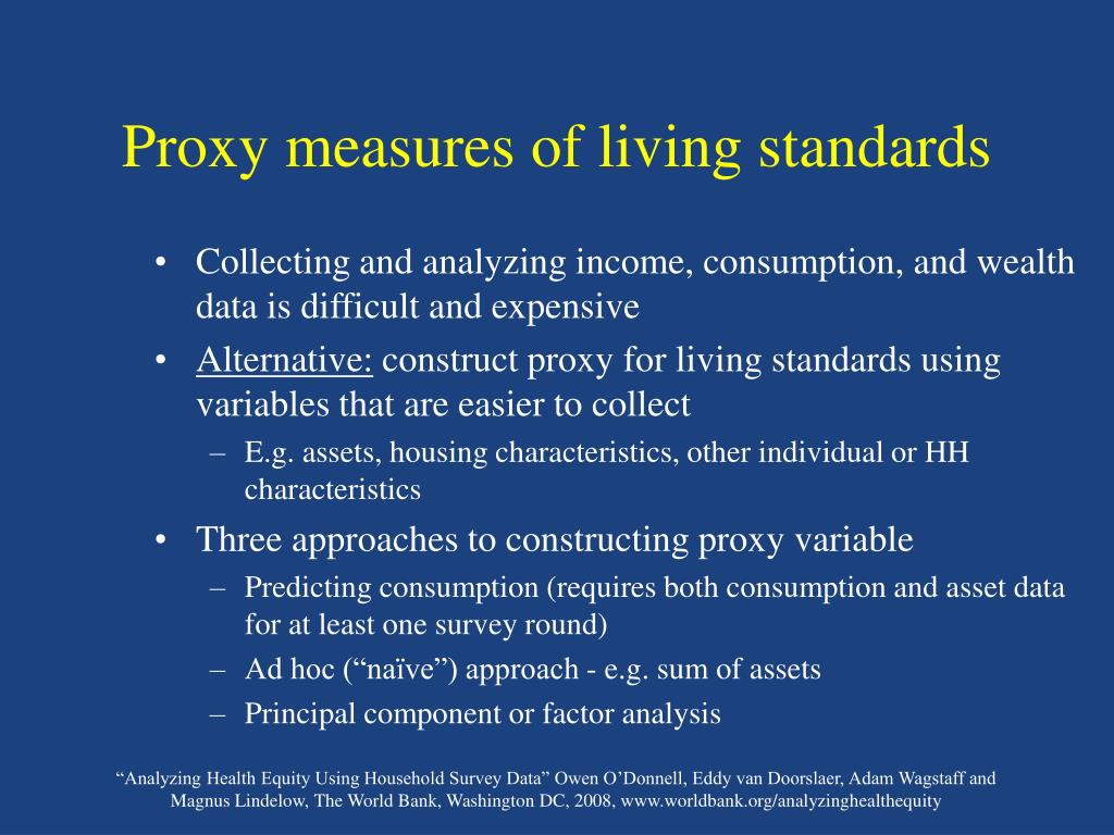 Proxy measures of living standards