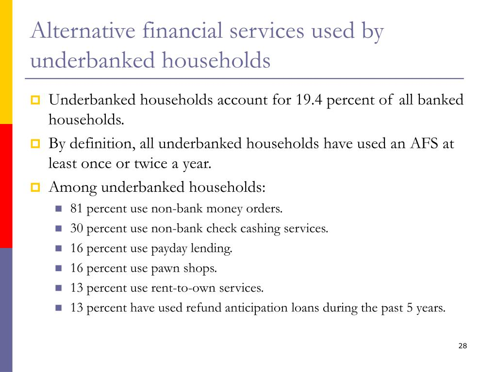 Alternative financial services used by underbanked households
