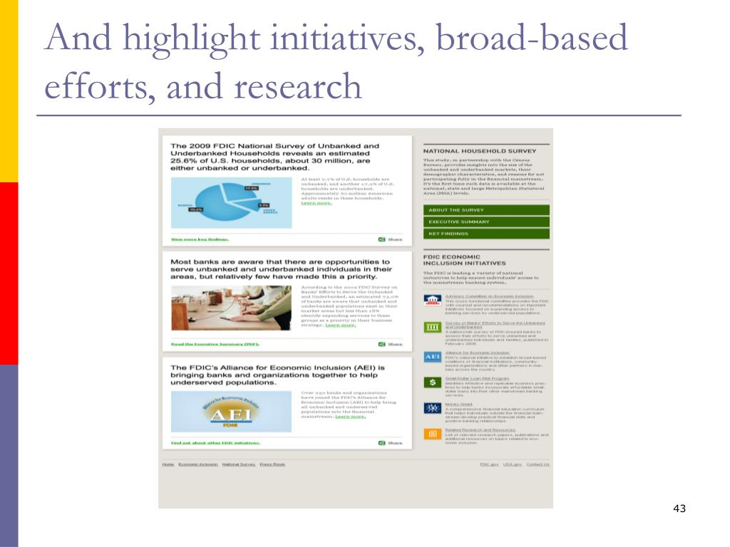 And highlight initiatives, broad-based efforts, and research