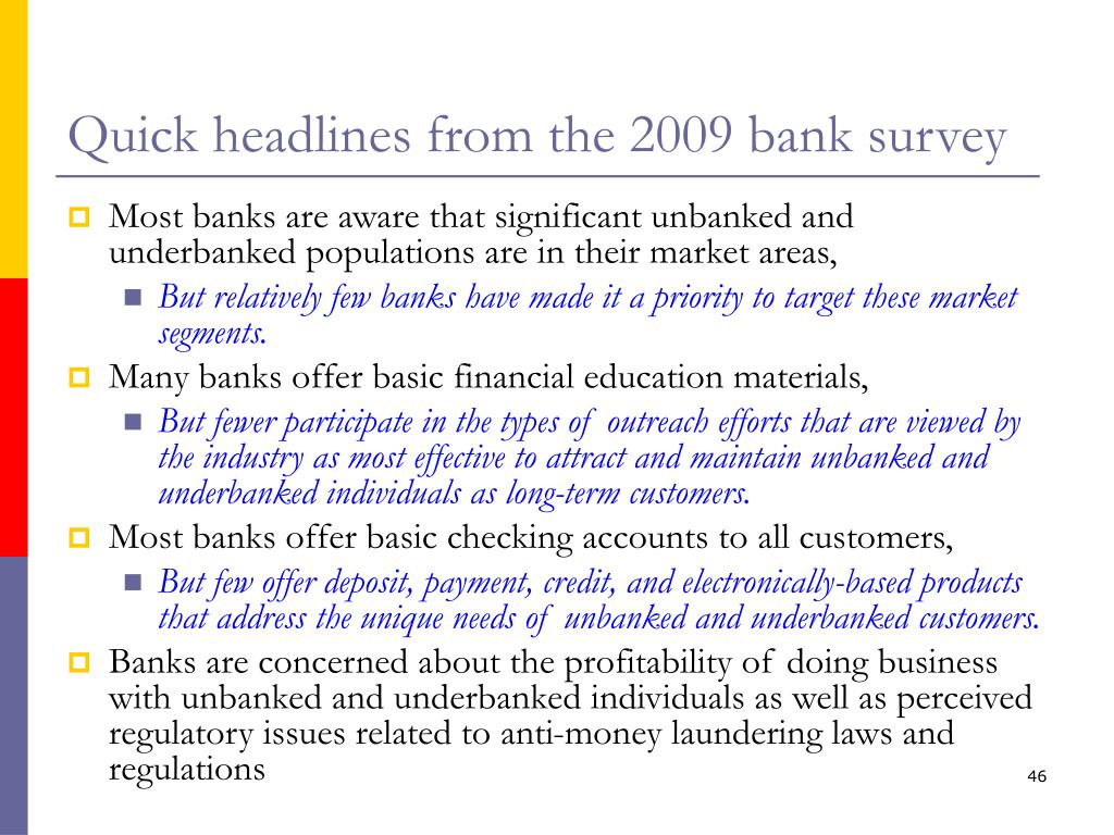 Quick headlines from the 2009 bank survey