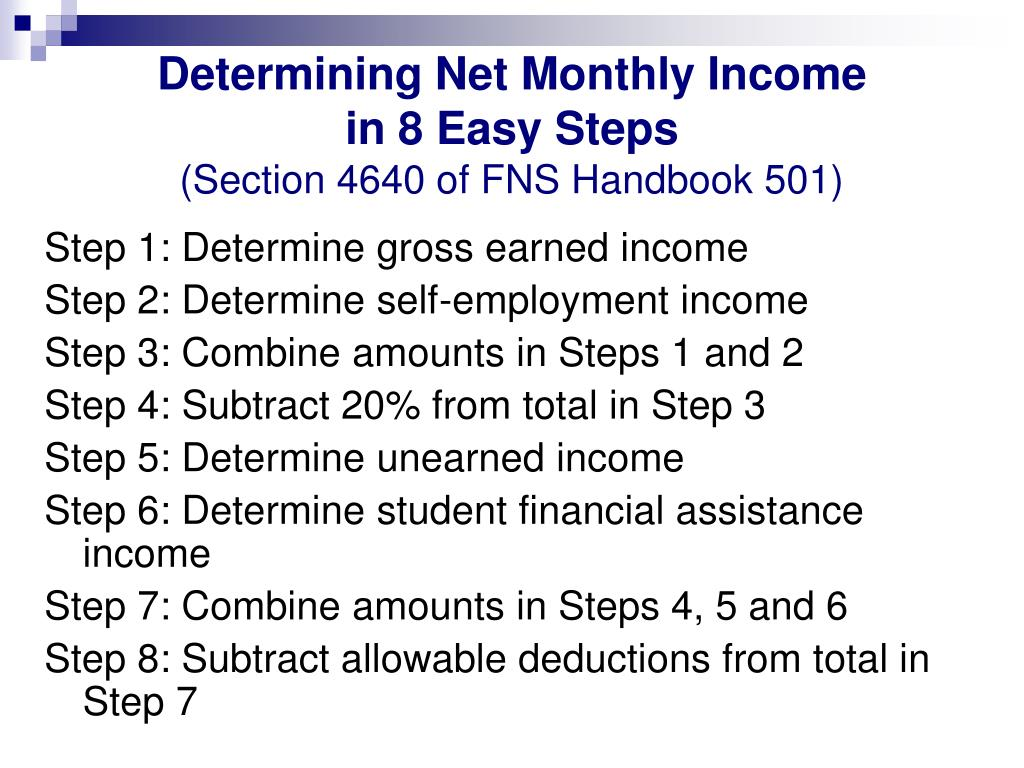 Determining Net Monthly Income