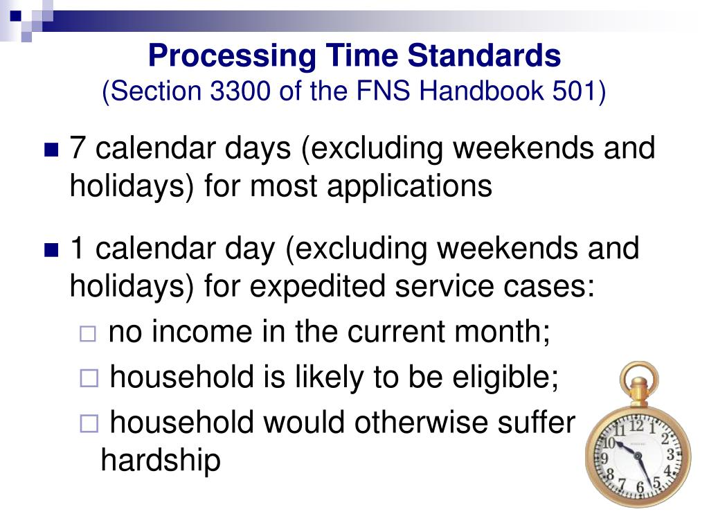 Processing Time Standards