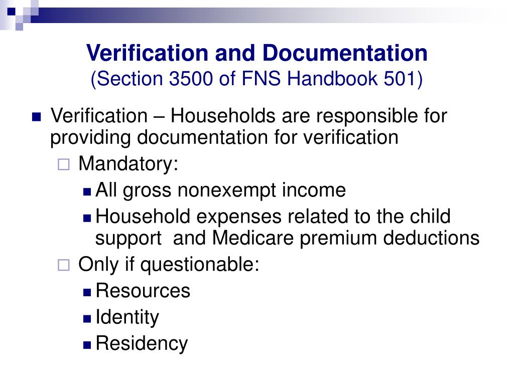 Verification and Documentation