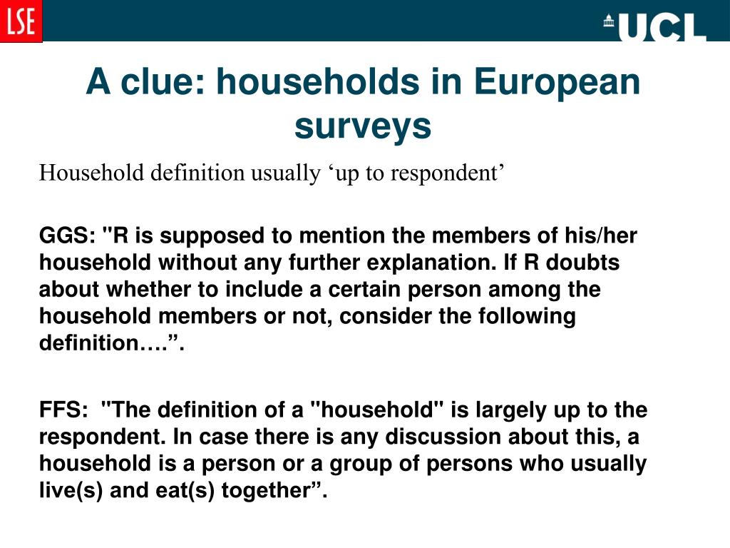A clue: households in European surveys
