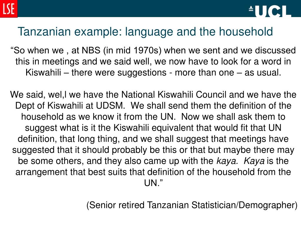 Tanzanian example: language and the household