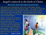 angel s rejoiced at the birth of christ