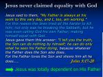 jesus never claimed equality with god