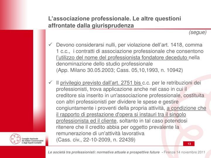 L'associazione professionale. Le altre questioni affrontate dalla