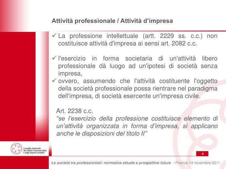 Attività professionale / Attività d'impresa
