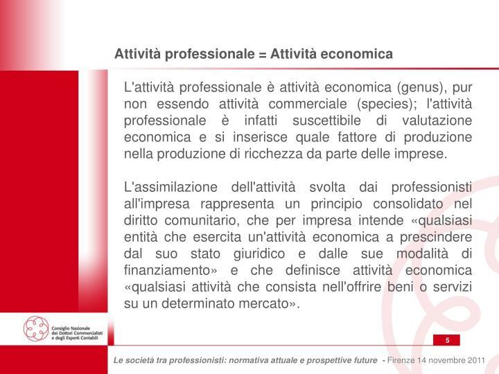 Attività professionale = Attività economica