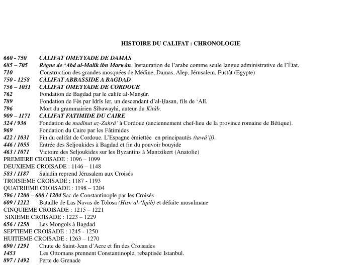 HISTOIRE DU CALIFAT : CHRONOLOGIE