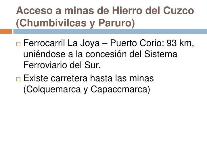 Acceso a minas de Hierro del Cuzco (Chumbivilcas y Paruro)
