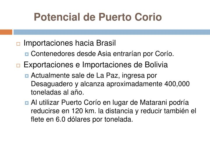Potencial de Puerto Corio