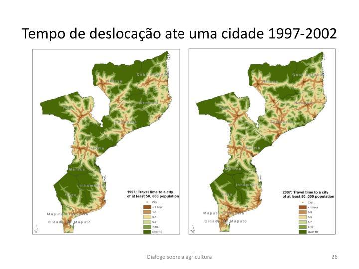 Tempo de deslocação ate uma cidade 1997-2002