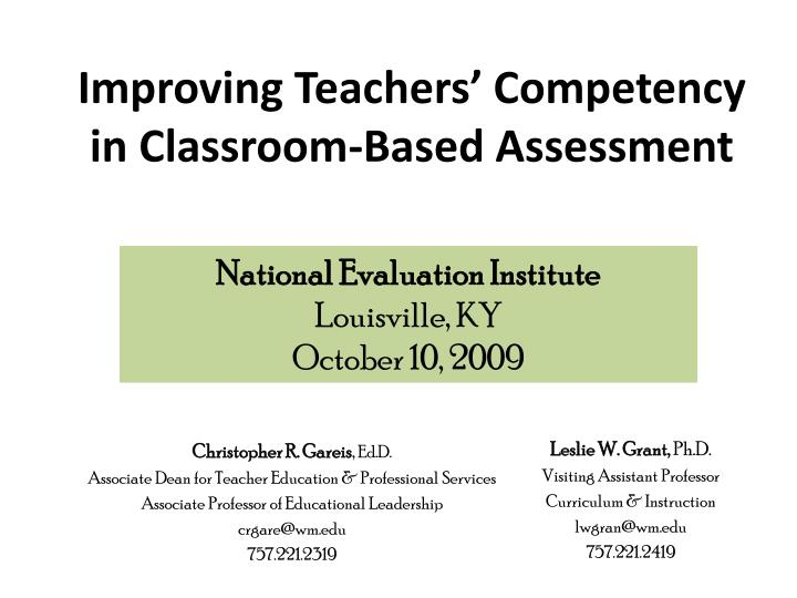 improving teachers competency in classroom based assessment