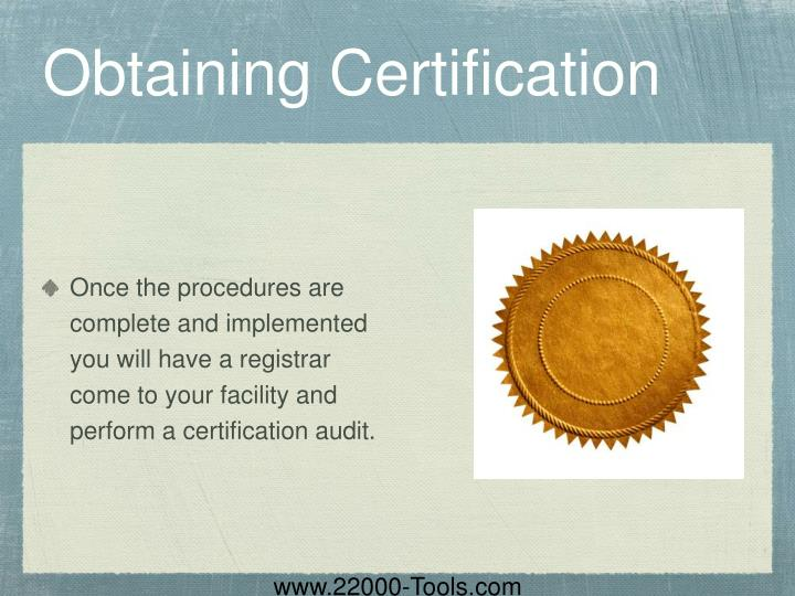 Obtaining Certification