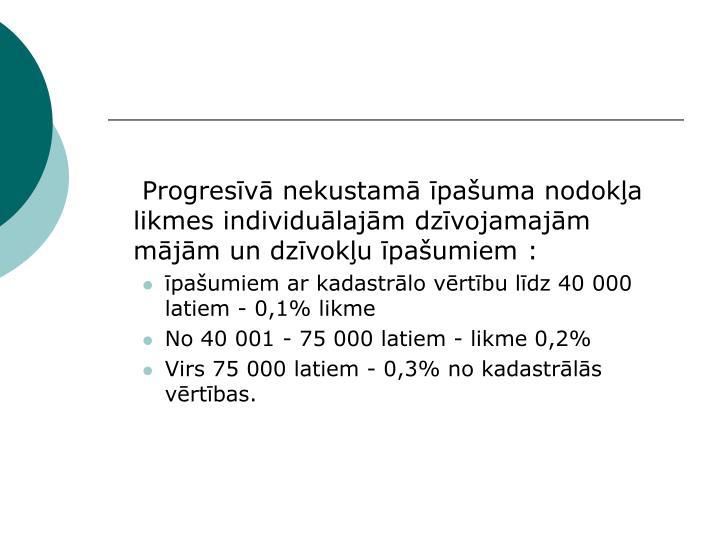 Progresīvā nekustamā īpašuma nodokļa likmes individuālajām dzīvojamajām mājām un dzīvokļu īpašumiem :