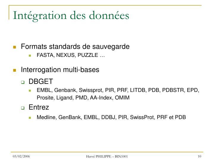 Intégration des données