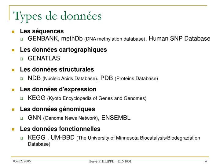 Types de données