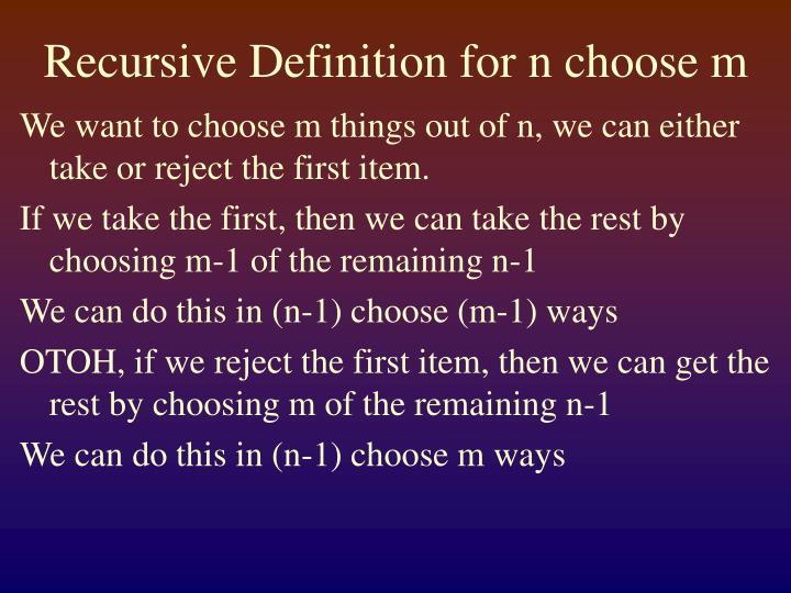Recursive Definition for n choose m
