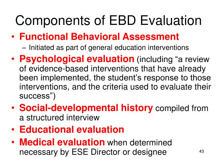 Components of EBD Evaluation