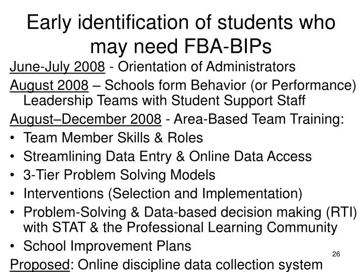 Early identification of students who may need FBA-BIPs