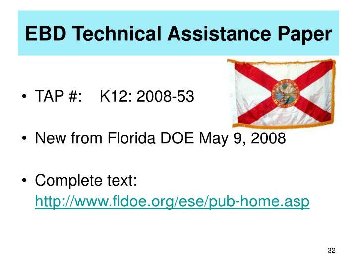 EBD Technical Assistance Paper