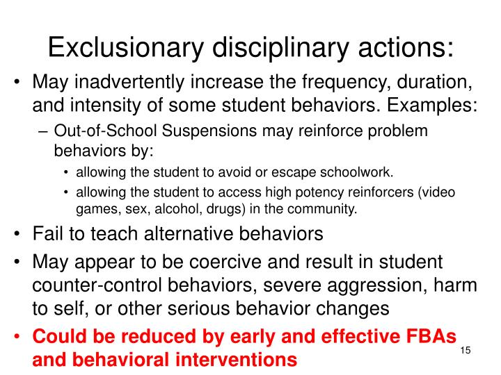 Exclusionary disciplinary actions: