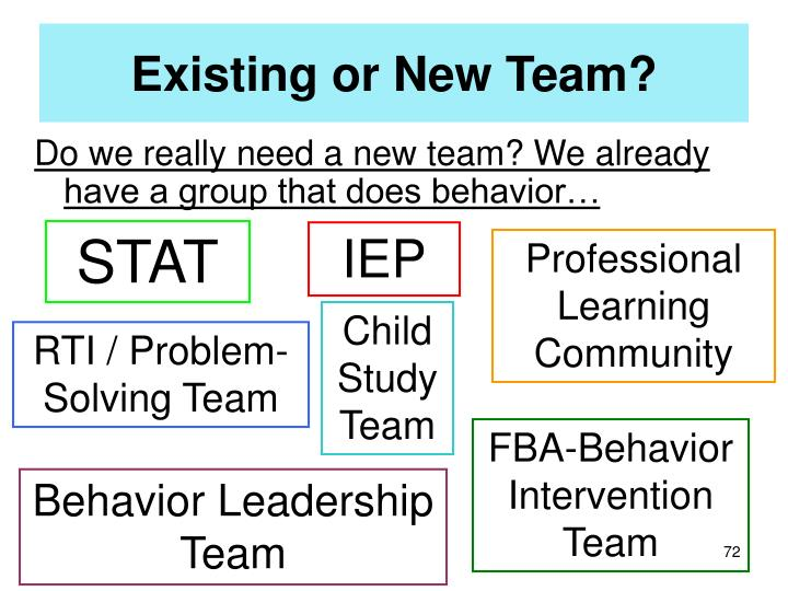 Existing or New Team?