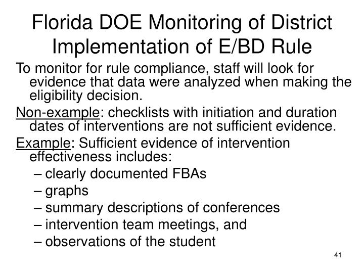 Florida DOE Monitoring of District Implementation of E/BD Rule